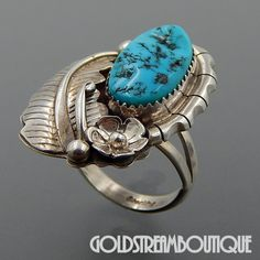 NATIVE AMERICAN VINTAGE NAVAJO STERLING SILVER KINGMAN TURQUOISE FEATHER FLOWER RING SIZE 7