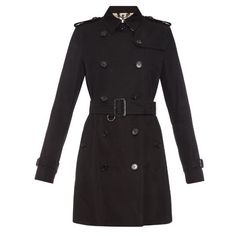 Burberry London Kensington mid-length gabardine trench coat ($1,702) ❤ liked on Polyvore featuring outerwear, coats, black, trench coat, double-breasted coat, burberry trenchcoat, gabardine coat and black trench coat