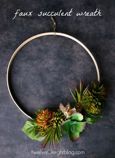 easy spring wreath using faux succulents from Dollar Tree