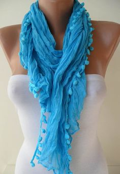 Blue Cotton Scarf with Pompom Trim by SwedishShop on Etsy, $12.90