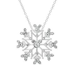 Disney Crystal Hidden Mickey Snowflake Pendant with 18 Chain