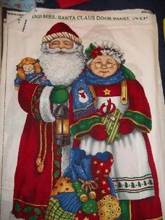 Fabric Panel Mr & Mrs Santa Clause Door $7.99 btp OOP Large Sewing Craft quilting decor