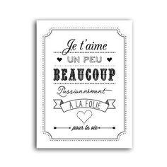 citations scrapbooking | Tampon Bois - Je t'aime un peu, beaucoup… - 5,2 x 7,1…