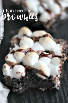 Fudgy Hot Chocolate Brownies (like S'mores) - These Fudgy Hot Chocolate Brownies are the perfect compliment to winter, especially when they come out of the oven after you let the mini marshmallows melt a little. They remind of S'mores-like brownies, minus the crushed graham cracker, but you could always crush some up and sprinkle on top!
