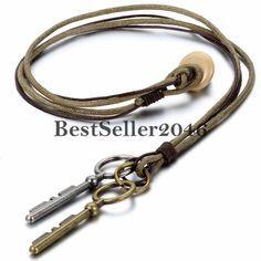 Damen Herren Halskette Retro 2 Schlüssel Legierung Anhänger mit Leder Seil Kette