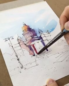 Video of process by kristina gavrilova Pen And Watercolor, Watercolor Landscape, Watercolour Painting, Painting & Drawing, Watercolors, Art Sketches, Art Drawings, Art Aquarelle, Watercolor Architecture