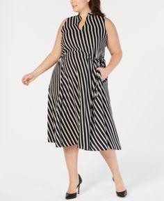 c8201a9ccd460 Anne Klein Plus Size Striped Midi Dress - Black 2X Striped Midi Dress