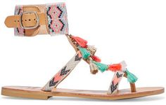 Mabu by Maria BK - Embellished Leather Sandals - Coral