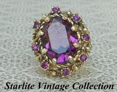 Vintage Purple Crystal Ring by www.starlitejewelrydesigns.com ~ Eco Chic Upcycled Sustainable Fashion ~ Jewelry