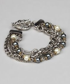 Take a look at this Silver & Pearl Quintuplet Chain Bracelet by Embassy Jewels on #zulily today!