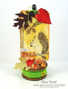Lisa Hoel for Mixed Media Monthly Challenge Blog - challenge #41 with Rubber Dance Stamps, Happy Fall!