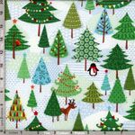 Makower Fabric: Frosty, Christmas Trees (per 1/4 metre)