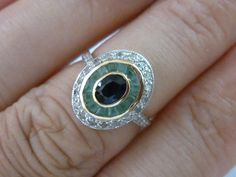 Art Deco Vintage Gold Sapphire, Emerald & Diamond Ring, 14k Yellow Gold, Antique Womens Emerald Shield Ring - Custom R74 by GTJewellers on Etsy https://www.etsy.com/listing/516364231/art-deco-vintage-gold-sapphire-emerald