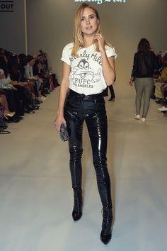 Kimberley Garner attends Rocky Star Catwalk in black patent leather pants