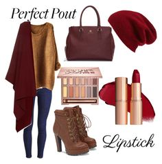 """Autumnal Red Lipstick"" by emmalouise13 ❤ liked on Polyvore featuring beauty, Levi's, JustFab, Halogen, The Row and Urban Decay"