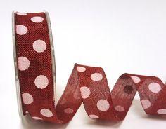 Bertie's Bows 25mm Burlap Polka Dot