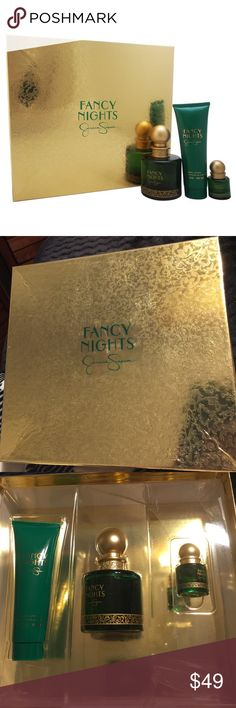 Fancy Nights by Jessica Simpson-3-pc Gift Set 3 Pc Gift Set 3.4oz EDP Spray, 0.25oz EDP Spray, 3oz Body Lotion. Launched by the design house of Jessica Simpson in the year 2010. This chypre floral fragrance has a blend of abergamot, papyrus, patchouli, rose, jasmine, oak moss, vanille, amber, and sandalwood notes. This box is not sealed, however it is brand new and unused and plastic inside is cracked, however does not in anyway affect the product. Jessica Simpson Other