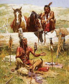 Howard Terpning-The Bird Watchers Native American Paintings, Native American Pictures, Native American Beauty, Indian Pictures, American Spirit, American Indian Art, Native American History, American Artists, American Indians