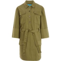 MiH Jeans Khaki Military Style Button Down Iola Shirt Dress (5.577.765 IDR) ❤ liked on Polyvore featuring dresses, long button down shirt dress, brown cotton dress, cotton shirt dress, khaki dress and khaki shirt dress