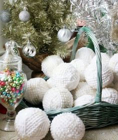Snowballs made with a vintage bedspread and Mod Podge for Fabric by Mitzi Curi of www.mitzismiscellany.com #Ornaments