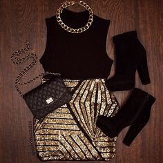 The skirt is my favorite part of this. Tops like this fit me perfect! Need this outfit doe NYE