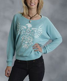 Look what I found on #zulily! Turquoise & White Tribal Eagle Sweatshirt - Women & Plus by Roper #zulilyfinds