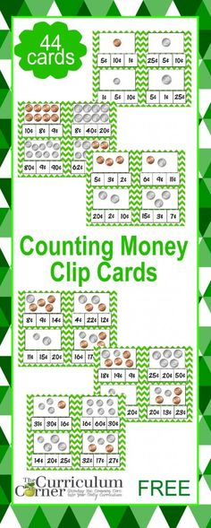 Counting Coins Clip CardsCounting Money Clip Cards FREE from The Curriculum Corner Counting Coins, Counting Money, Money Activities, Math Resources, Money Games, Number Activities, Teaching Money, Teaching Math, Teaching Tools