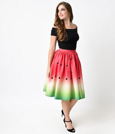 A stunner to savor! Fresh from Unique Vintage, this magnificent 1950s inspired circle skirt is printed in a radiantly refreshing high definition watermelon print in an eye catching ombre design. With a banded high waist and gathered, voluminous A-line silhouette, this tantalizing reproduction vintage skirt has hidden side pockets and is topped off with a darling back button - perfectly Pin-up and palatable! <br />Available in sizes XS-XL while supplies last.