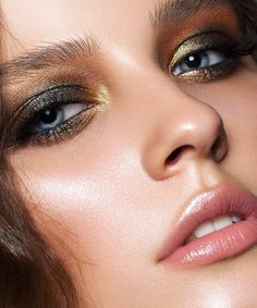 Add gold to your smokey eye for dramatic holiday shimmer