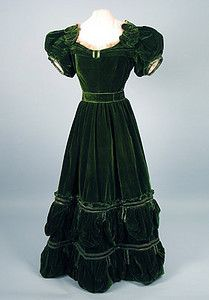 Green Velvet Evening Dress, 1830s