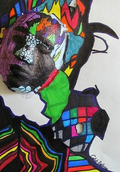 Expressive Tissue Paper Masks w/ Ground - Conway High School Art Project