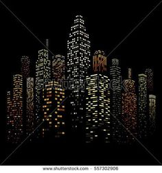 Vector illustration of black and white skyscrapers, with black buildings and colored windows. All windows shapes are present so you can easily edit window colors. Black Building, Building Art, Black Paper Drawing, City Icon, City Vector, Geometric Pattern Design, Cool Wallpapers For Phones, City Illustration, Urban Sketching