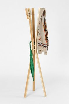 Clothespin Coat Rack, silly looking but looks practical for accessory stowing