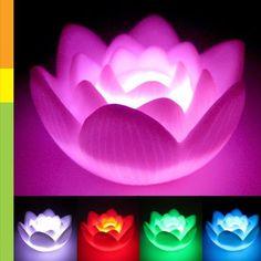 Color Changing LED Lotus Flower Romantic Love Mood Lamp Night Light Wedding Favor Decoration