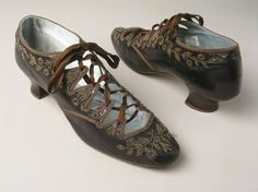 Shoes, Richard Phillips & Sons, Manchester: 1880-1890, kidskin leather bound with silk ribbon, beaded embroidery, lined...