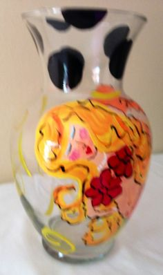 Hand Painted Tall Glass Vase with Mermaid - Arianna - Orange Yellow and Red - just over 11 inches Tall -Tides will Always Change