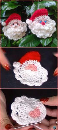 Crochet Santa Clause Face Motif Free pattern Video - Crochet Santa Clause Free Patterns Crochet Christmas Ornaments, Crochet Snowflakes, Christmas Applique, Santa Ornaments, Christmas Knitting, Crochet Santa, Navidad A Crochet, Crochet Amigurumi, Crochet Gifts