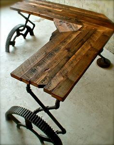 An Awesome Desk - Made from old pipes, bridge gears, and salvaged barn wood this desk is the epitome industrial amazingness. An Awesome Desk - Made from old pipes, bridge gears, and salvaged barn wood this desk is the epitome industrial amazingness. Steampunk Furniture, Vintage Industrial Furniture, Industrial Table, Steampunk Desk, Steampunk Interior, Industrial Living, Industrial Industry, Industrial Office, Modern Industrial