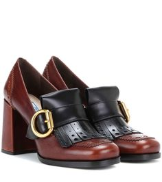 Prada Leather Brogue Loafer Pumps ($990)