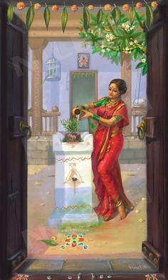 Posts about Tulsi Pooja written by Gaurang Katyayan misra Indian Women Painting, Indian Art Paintings, Indian Artist, Abstract Paintings, Oil Paintings, Landscape Paintings, Hindus, Indian Drawing, Art Tribal