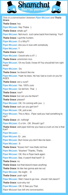 A conversation between Thalia Grace and Piper McLean
