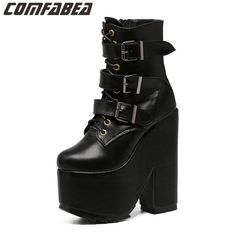 Superhigh Heel Boot 2016 New Women Black Ankle Boots Motorcycle Thick High Heel Buckle Gothic Punk Platforms Botas JH-8119-11