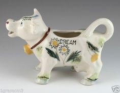 """Vintage Ceramic """"Cream"""" Cow Creamer With Bell"""