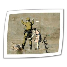 @Overstock.com - Artist: Banksy Title: Girl Frisking Soldier Product type: Unwrapped, canvashttp://www.overstock.com/Home-Garden/Art-Wall-Banksy-Girl-Frisking-Soldier-Unwrapped-Canvas/7824689/product.html?CID=214117 $28.99