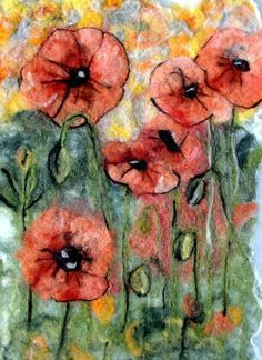 Poppies felted tapestry by CoyoteRimStudio on Etsy. $195.00, via Etsy.