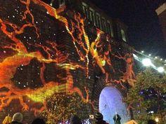 strange projection on Brooklyn Bridge wall-part of Nyfol, Light festival