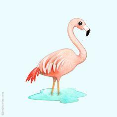 F ist für Flamingo  Drucken einer original Aquarell Illustration von mir. Dieser Druck ist auch erhältlich in Creme Hintergrund. Bitte hinterlassen Sie