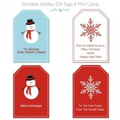 Holiday Gift Tags and Mini Cards {free printable}