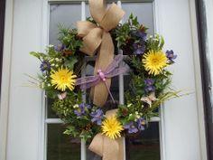 Primitive ~ Yellow~Purple~ Gerber Daisies~ Burlap Bow~ Door  Wreath~Dragonfly~