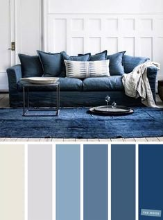 √ 35 Best Living Room Color Scheme Ideas Brimming With Character The living room color schemes to give the impression of a more colorful living. Find pretty living room color scheme ideas that speak your personality. Living Room Color Combination, Good Living Room Colors, Blue Living Room Decor, Living Room Color Schemes, Home Living Room, Living Room Ideas Grey And Blue, Living Room Wall Lighting, Lights For Living Room, Grey Room